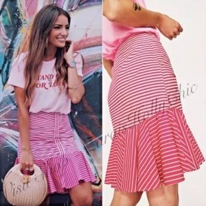 ZARA Stripped Ruffle Mini Skirt